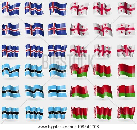 Iceland, Georgia, Botswana, Belarus. Set Of 36 Flags Of The Countries Of The World.