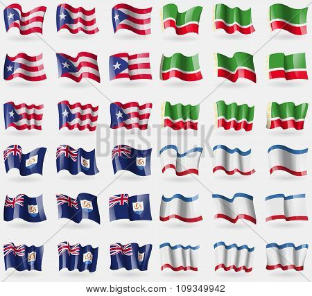 Puerto Rico, Chechen Republic, Anguilla, Crimea. Set Of 36 Flags Of The Countries Of The World.