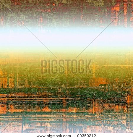 Old school textured background. With different color patterns: yellow (beige); green; red (orange); white
