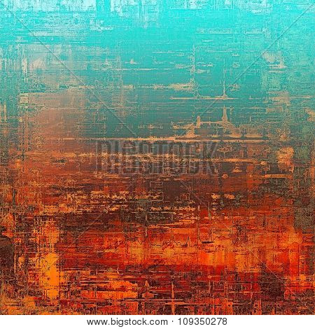 Grunge retro texture, elegant old-style background. With different color patterns: brown; blue; red (orange); cyan