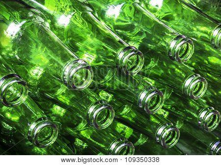Stack Of Green Color Bottles