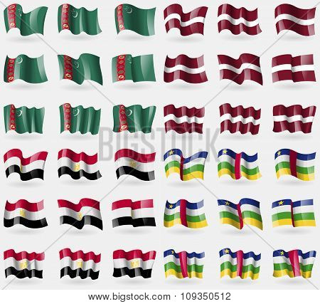 Turkmenistan, Latvia, Egypt, Central African Republic. Set Of 36 Flags Of The Countries Of The