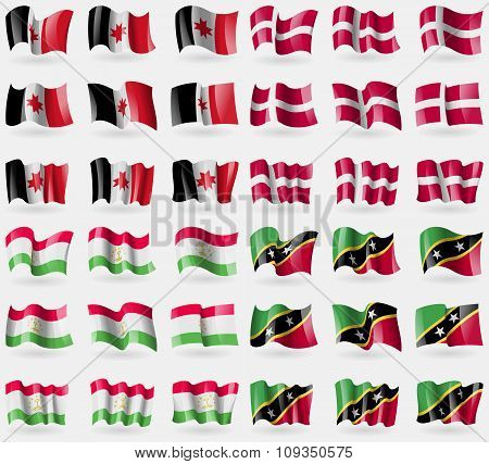 Udmurtia, Denmark, Tajikistan, Saint Kitts And Nevis. Set Of 36 Flags Of The Countries Of The