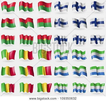 Burkia Faso, Finland, Mali, Sierra Leone. Set Of 36 Flags Of The Countries Of The World.