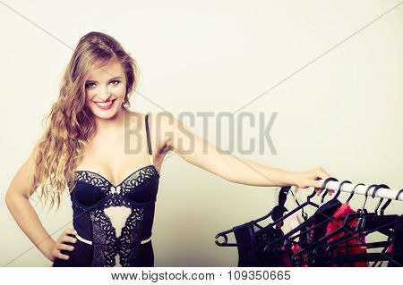 Sexy Woman Buying Lingerie