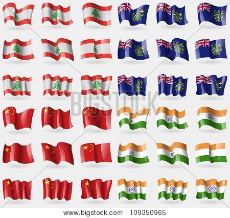 Lebanon, Pitcairn Islands, China, India. Set Of 36 Flags Of The Countries Of The World.
