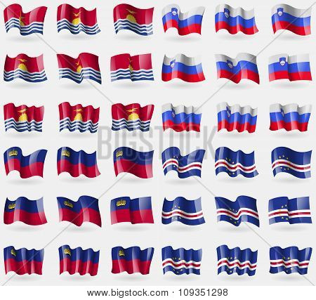 Kiribati, Slovenia, Liechtenstein, Cape Verde. Set Of 36 Flags Of The Countries Of The World.