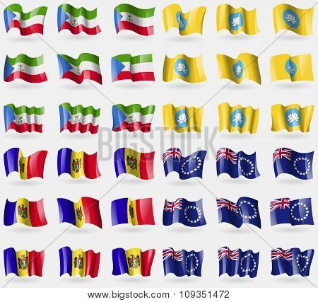 Equatorial Guinea, Kamykia, Moldova, Cook Islands. Set Of 36 Flags Of The Countries Of The World.