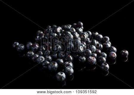 Blueberries on black background from side