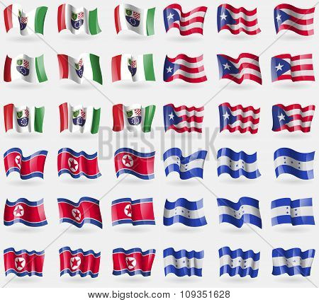 Bosnia And Herzegovina Federation, Puerto Rico, Korea North, Honduras. Set Of 36 Flags Of The