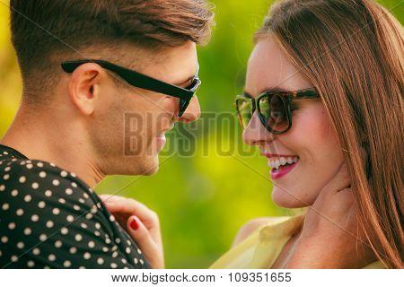 Happy Couple In Park