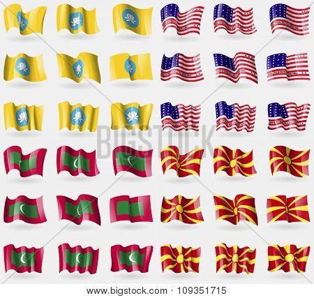 Kalmykia, Bikini Atoll, Maldives, Macedonia. Set Of 36 Flags Of The Countries Of The World.