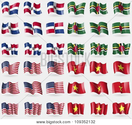 Dominican Republic, Dominica, Usa, Vietnam. Set Of 36 Flags Of The Countries Of The World.