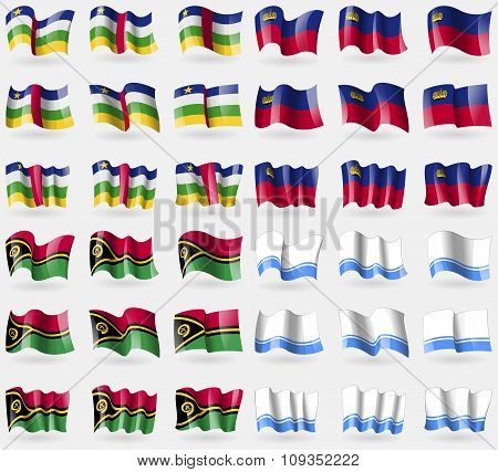 Central African Republic, Liechtenstein, Vanuatu, Altai Republic. Set Of 36 Flags Of The Countries