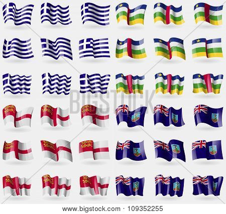 Greece, Central African Republic, Sark, Montserrat. Set Of 36 Flags Of The Countries Of The World.