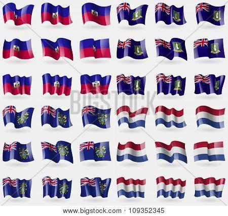 Haiti, Virginislandsuk, Pitcairn Islands, Netherlands. Set Of 36 Flags Of The Countries Of The