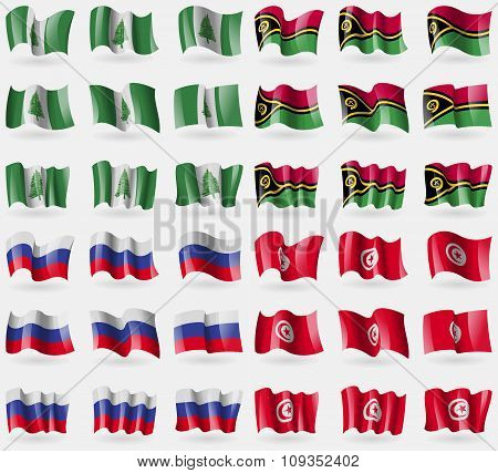 Norfolk Island, Vanuatu, Russia, Tunisia. Set Of 36 Flags Of The Countries Of The World.
