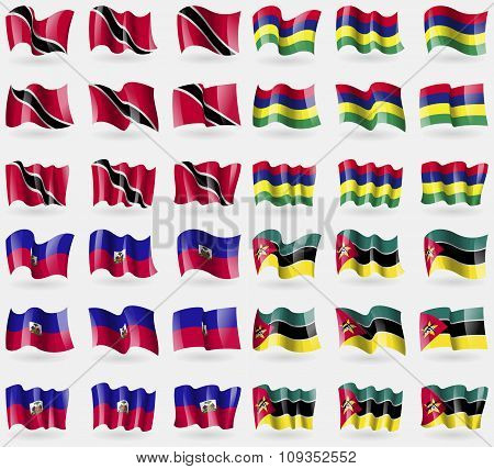 Trinidad And Tobago, Mauritius, Haiti, Mozambique. Set Of 36 Flags Of The Countries Of The World.