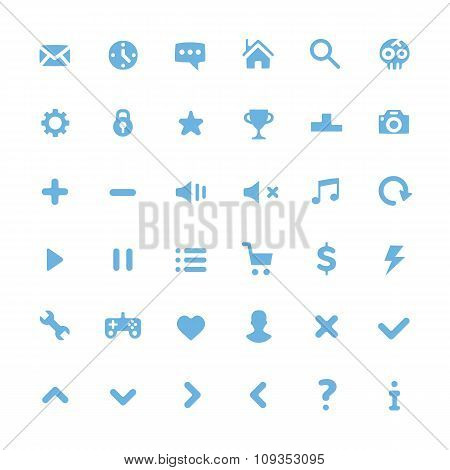 Vector blue pictograms set. Modern flat icons set for web and mobile. Isolated on white background