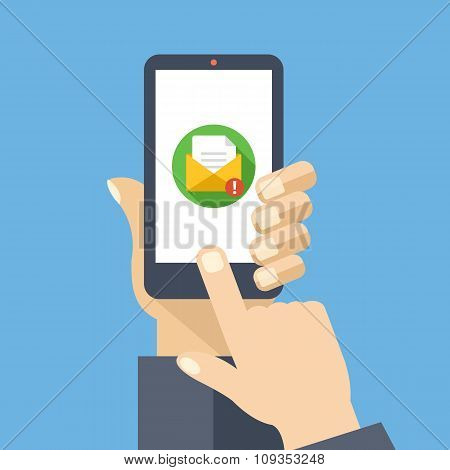 Mail app on smartphone screen. New message is received. Creative flat design vector illustration