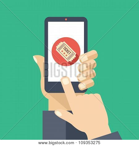 Tickets app on smartphone screen. Cinema tickets service. Creative flat design vector illustration