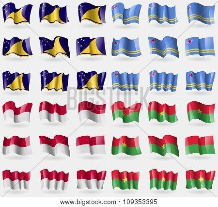 Tokelau, Aruba, Indonesia, Burkia Faso. Set Of 36 Flags Of The Countries Of The World.