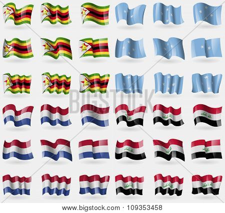 Zimbabwe, Micronesia, Netherlands, Iraq. Set Of 36 Flags Of The Countries Of The World.