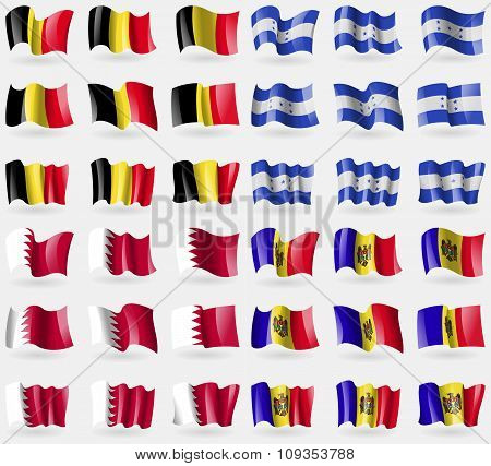 Belgium, Honduras, Bahrain, Moldova. Set Of 36 Flags Of The Countries Of The World.