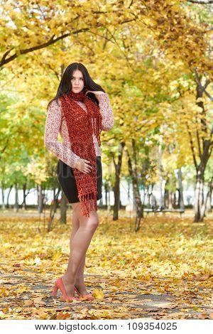 beautiful girl in yellow city park, fall season