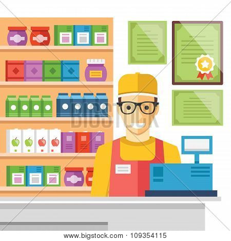 Cashier man at supermarket checkout. Flat vector illustration