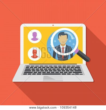 Search employee concept. Looking for professional staff.  Flat design vector illustration