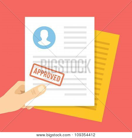 Job application approved. Hand holds job application with approval stamp on it. Vector illustration