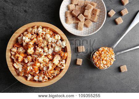 Sweet popcorn on dark background