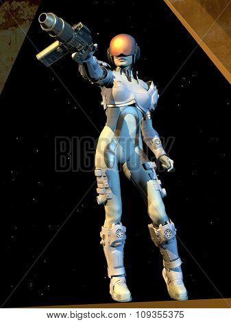 Cyborg girl on a black background