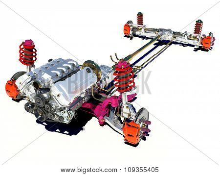 The vehicle's frame with the engine on a white background.