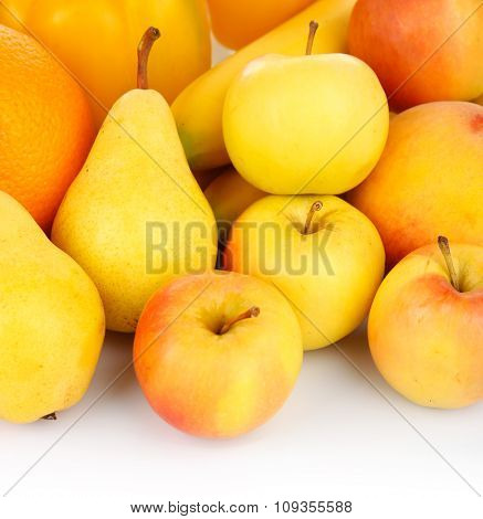 Bright fruit and vegetables composition isolated on white