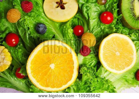 Beautiful bouquet of fruits and vegetables background