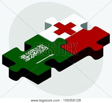 Saudi Arabia And Tonga Flags