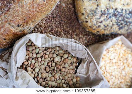 Different types of bread and cereal, close-up