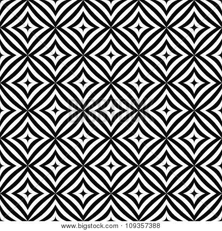 Seamless monochrome angular curved rectangle pattern