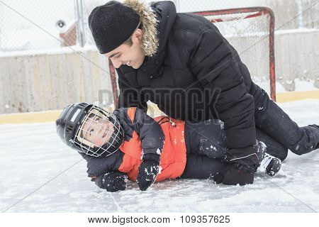 Father son hockey
