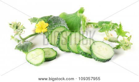 Sliced cucumbers with leafs isolated on white background