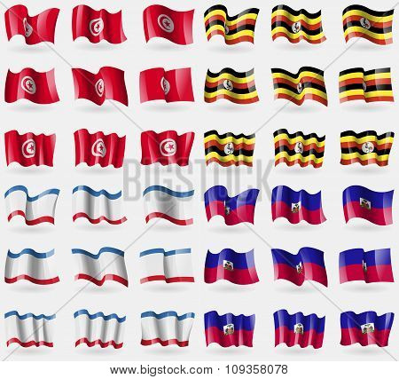 Tunisia, Uganda, Crimea, Haiti. Set Of 36 Flags Of The Countries Of The World.