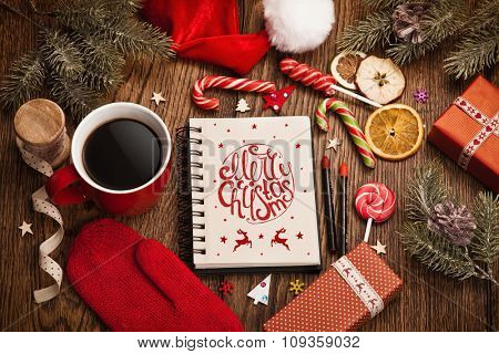 Christmas greetings with decorations on wood background