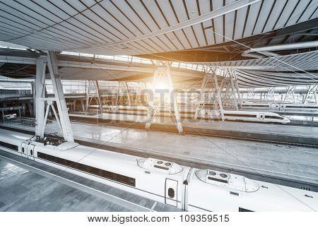 interior of platform of train station