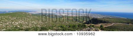 Panorama Mountain, Sea, And Barcelona