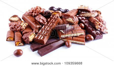 mix of chocolate, isolated on white