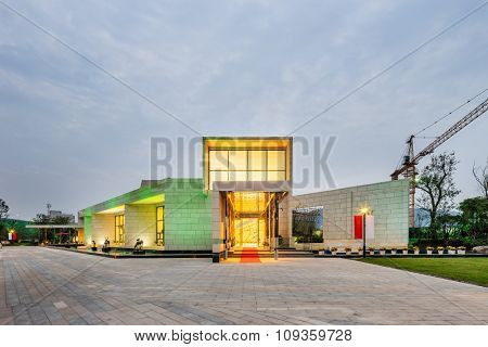 exterior of modern villa in cloudy sky
