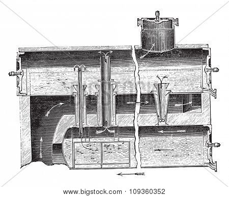 Boiler Dulac has multiple levels, vintage engraved illustration. Industrial encyclopedia E.-O. Lami - 1875.