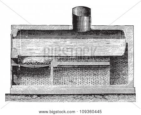 Cylindrical boiler, vintage engraved illustration. Industrial encyclopedia E.-O. Lami - 1875.